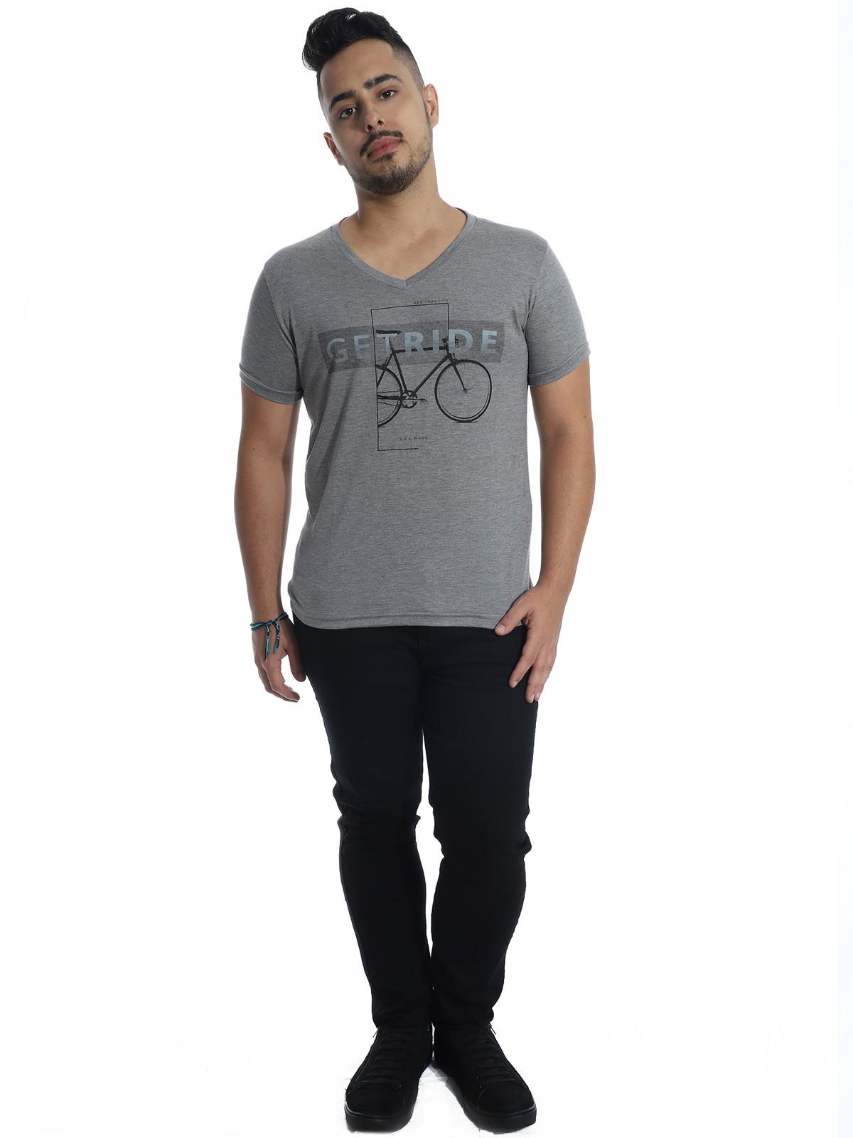 Camiseta Anistia Slim Fit Modal Ride Cinza
