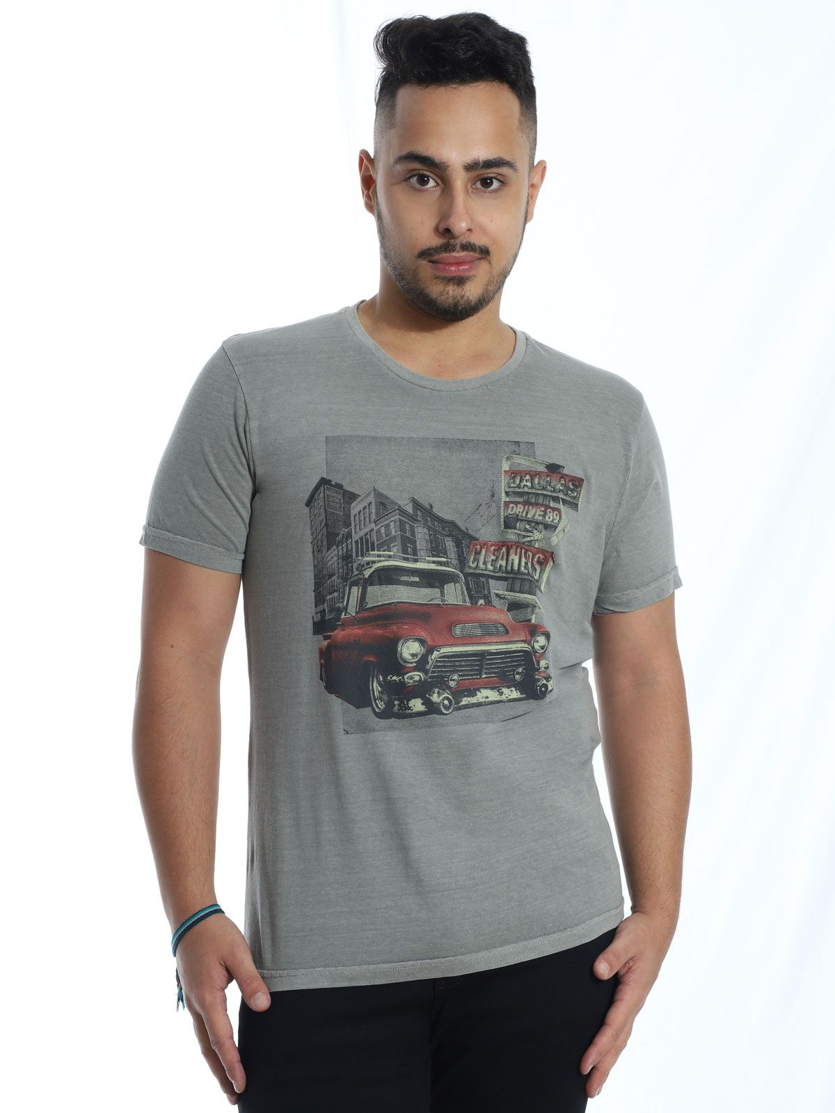 Camiseta Anistia Slim Fit Stonada Dallas Cinza