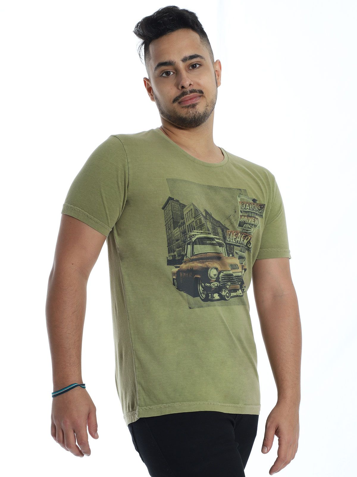 Camiseta Anistia Slim Fit Stonada Dallas Verde