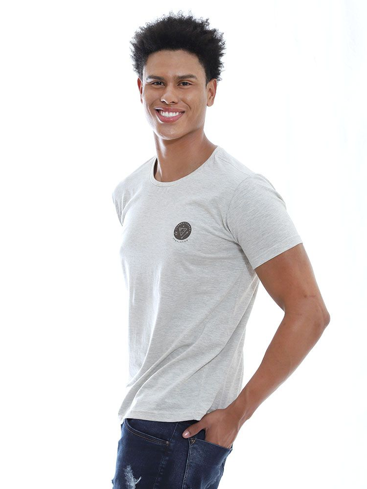 Camiseta Masculina Slim Fit Anistia Templeton Mescla Cru