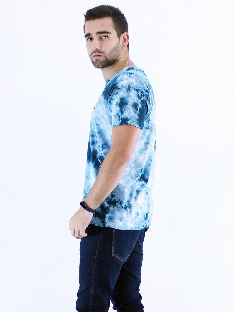 Camiseta Anistia Slim Fit Tie Dye Elétrico Azul