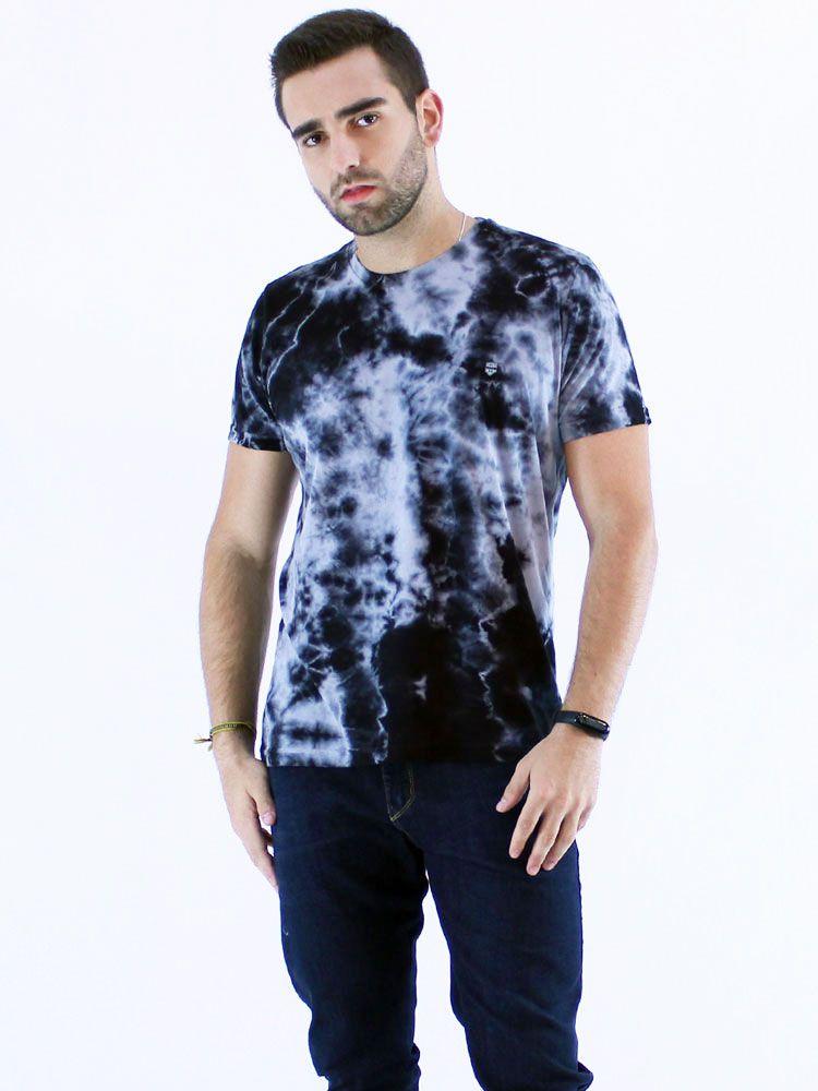 Camiseta Anistia Slim Fit Tie Dye Elétrico Preto