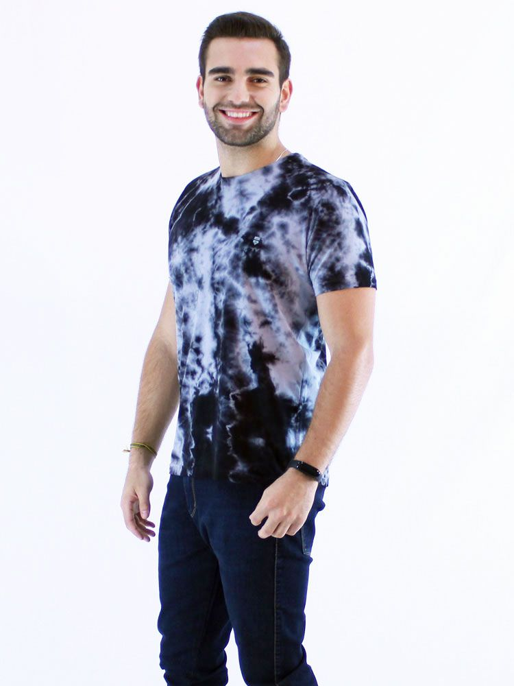 Camiseta Masculina Slim Tie Dye Algodão Manga Curta Preta