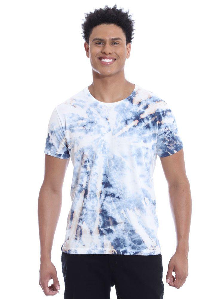 Camiseta Anistia Slim Fit Tie Dye Espiral Azul