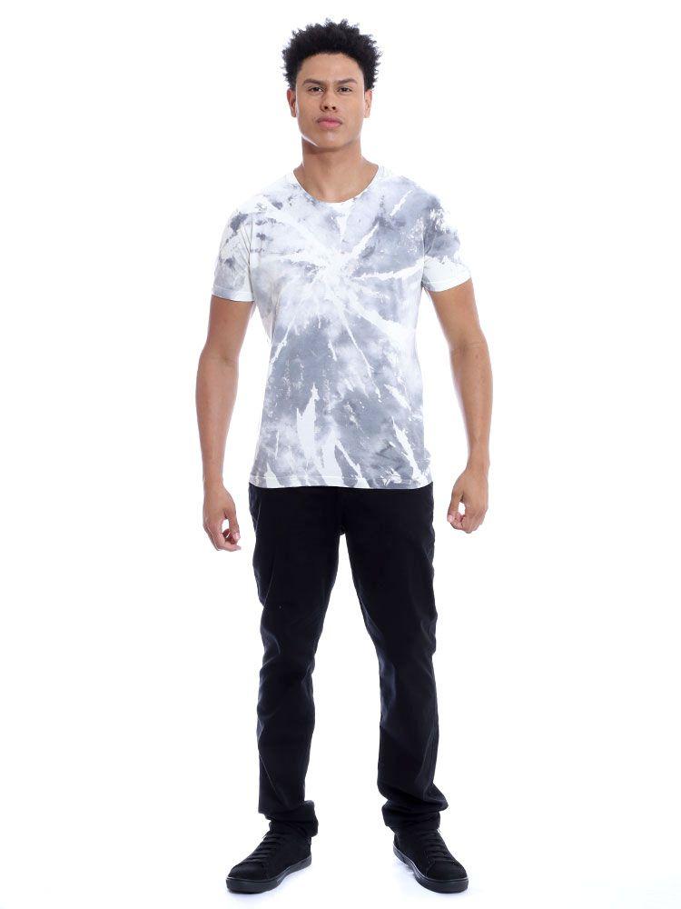 Camiseta Masculina Slim Fit Tie Dye Espiral Anistia Cinza