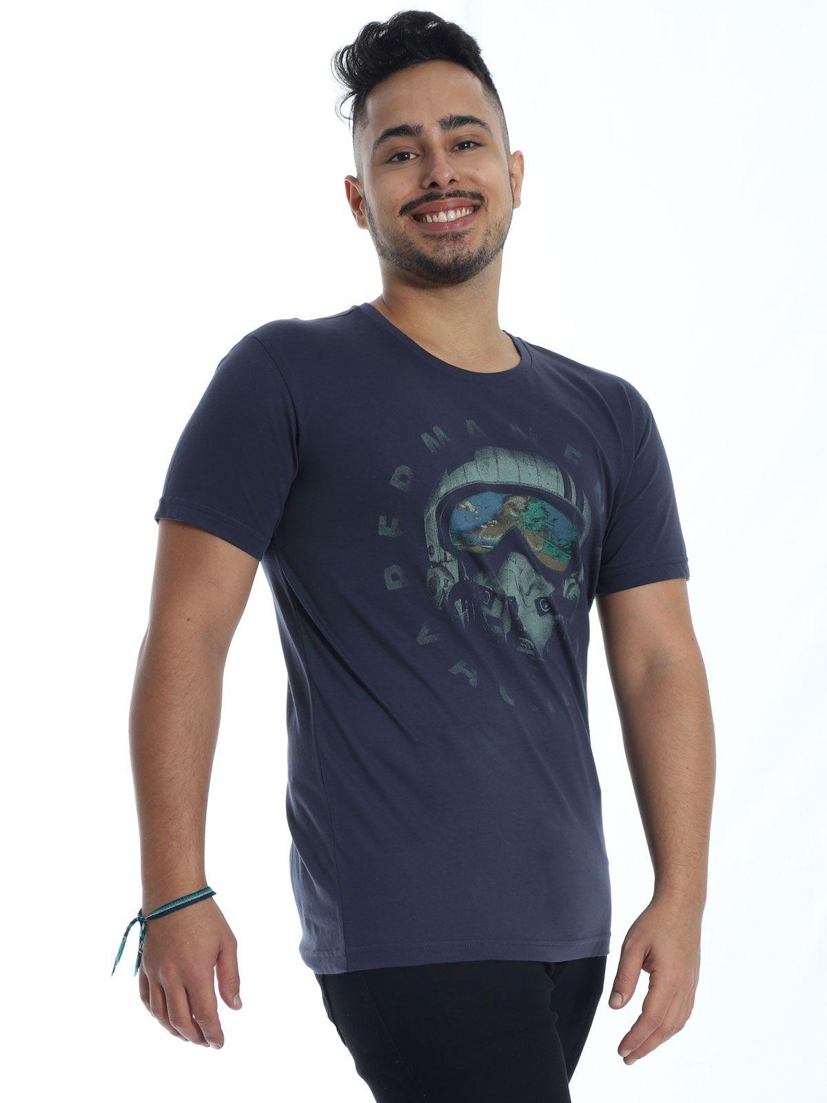 Camiseta Masculina Slim Fit Anistia Vacation Grafite