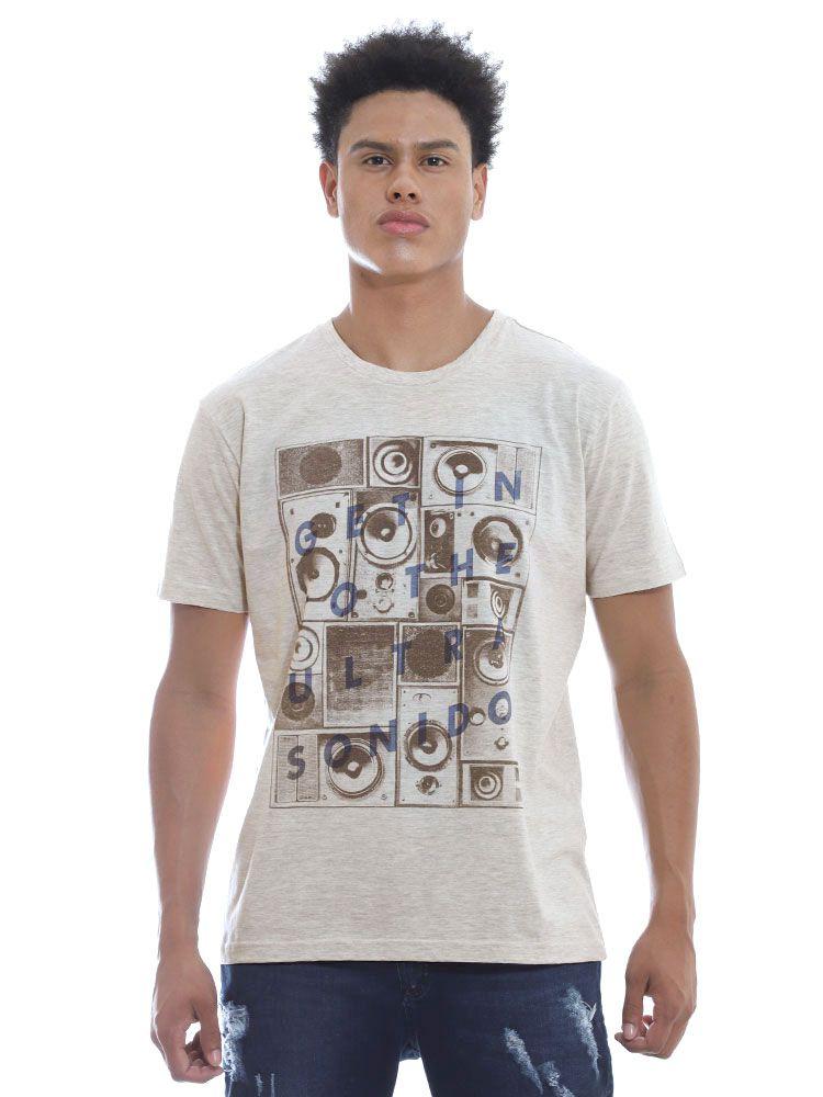 Camiseta Masculina Anistia Sonido Mescla Cru