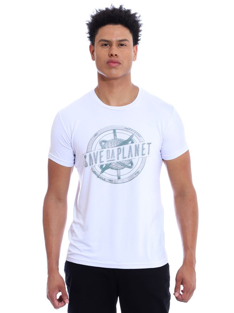 Camiseta Masculina Visco Slim Fit Manga Curta Branco