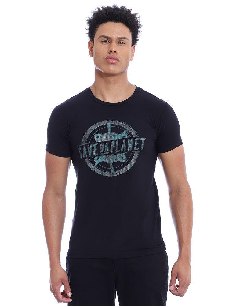 Camiseta Masculina Visco Slim Fit Manga Curta Preto