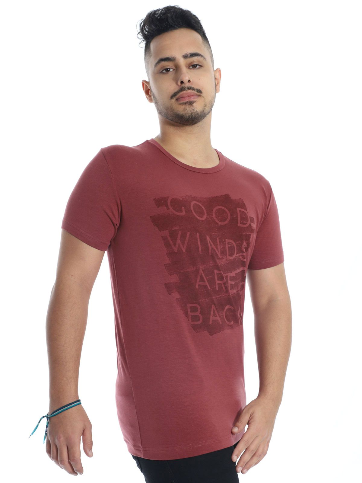 Camiseta Masculina Manga Curta Visco Slim Fit  Bordo