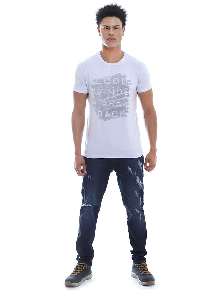 Camiseta Masculina Manga Curta Visco Slim Fit  Branco
