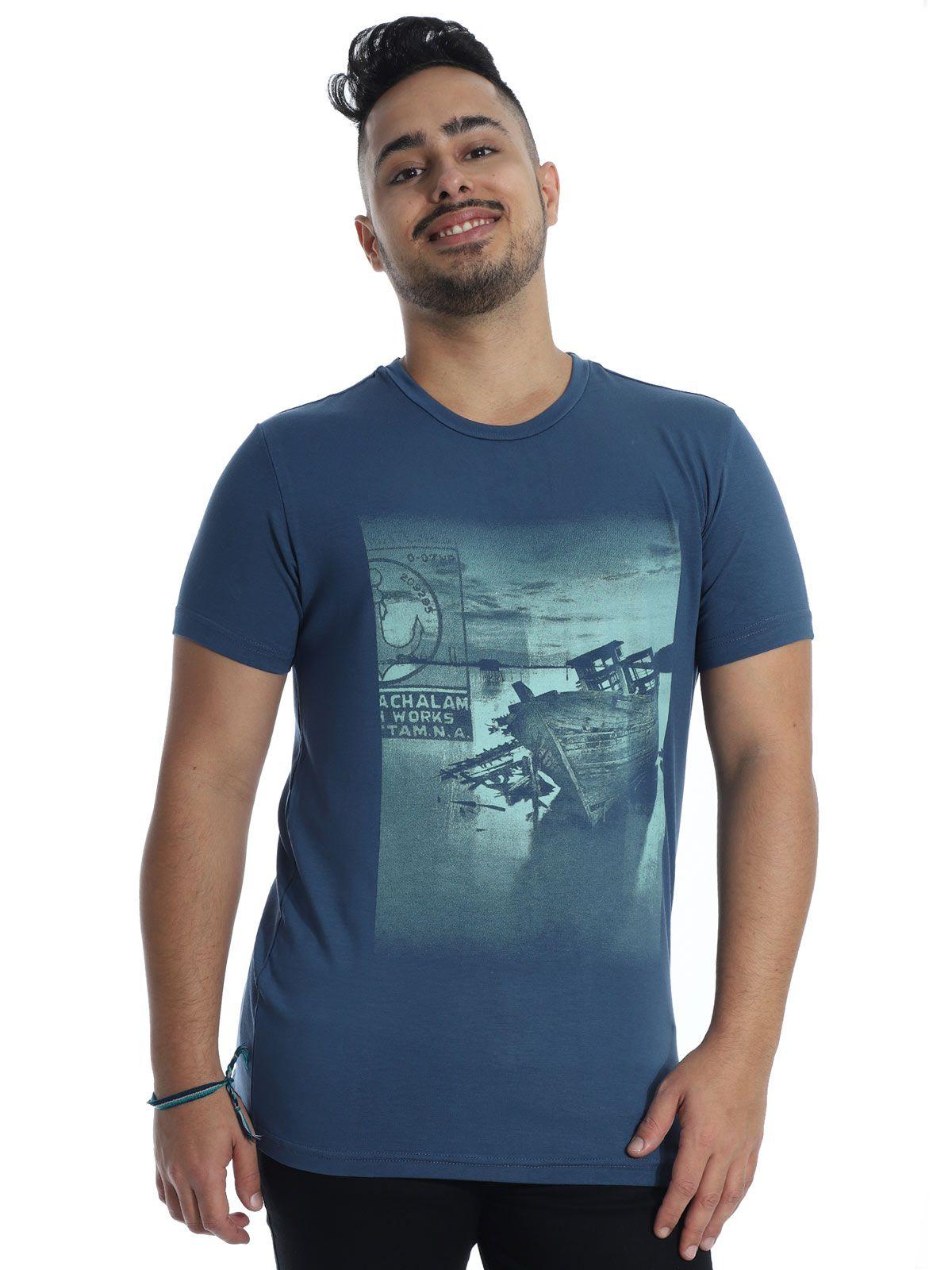Camiseta Anistia Viscolycra Slim Fit Boat Azul