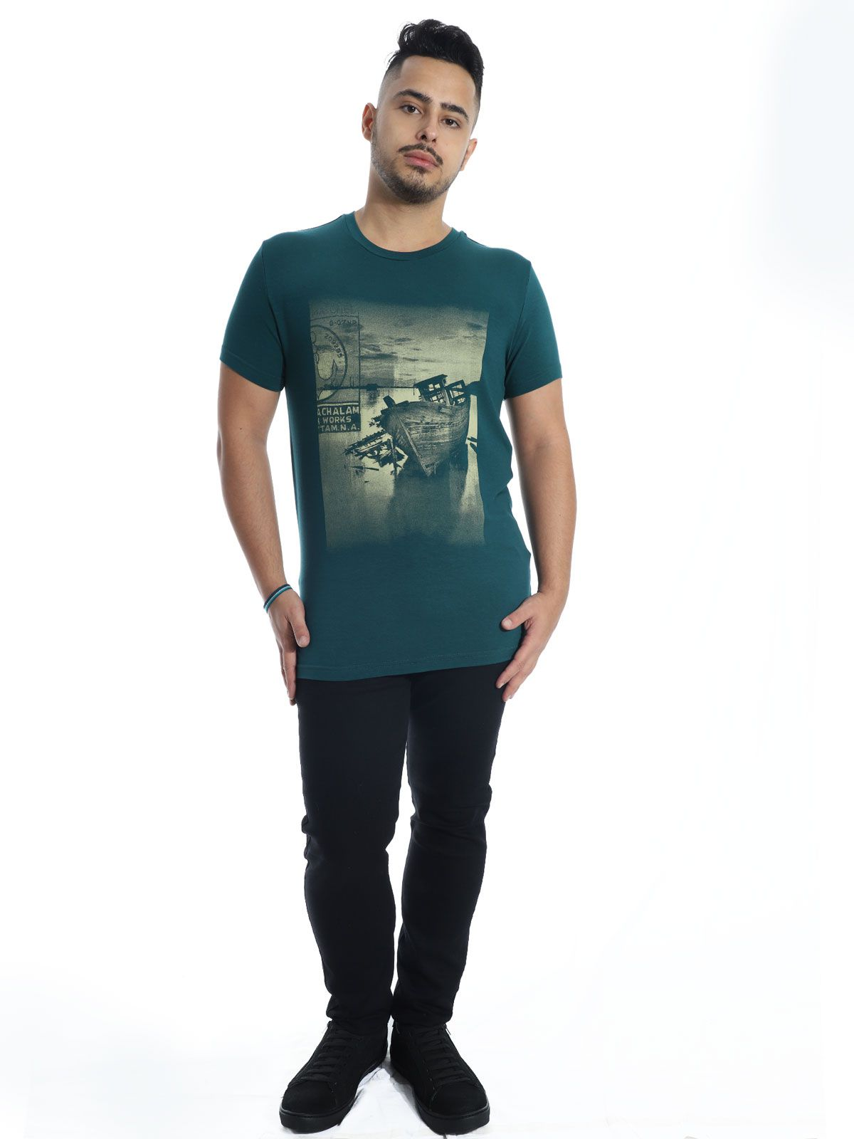 Camiseta Masculina Viscolycra Slim Fit Boat Anistia Verde