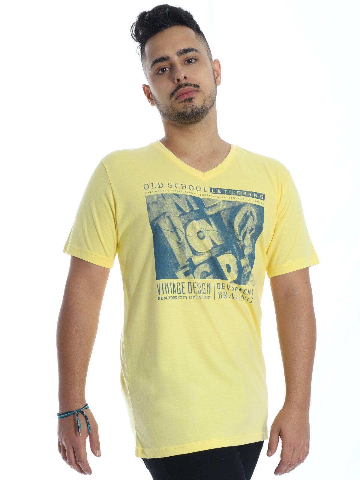 Camiseta Masculina Básica Decote V. Manga Curta School Amarela