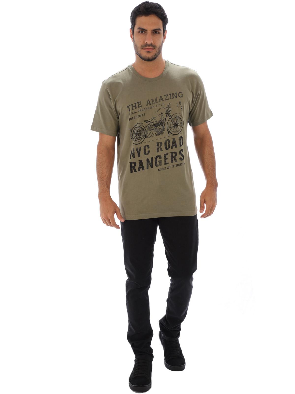Camiseta Básica Masculina de Algodão Estampa Rangers Bambú