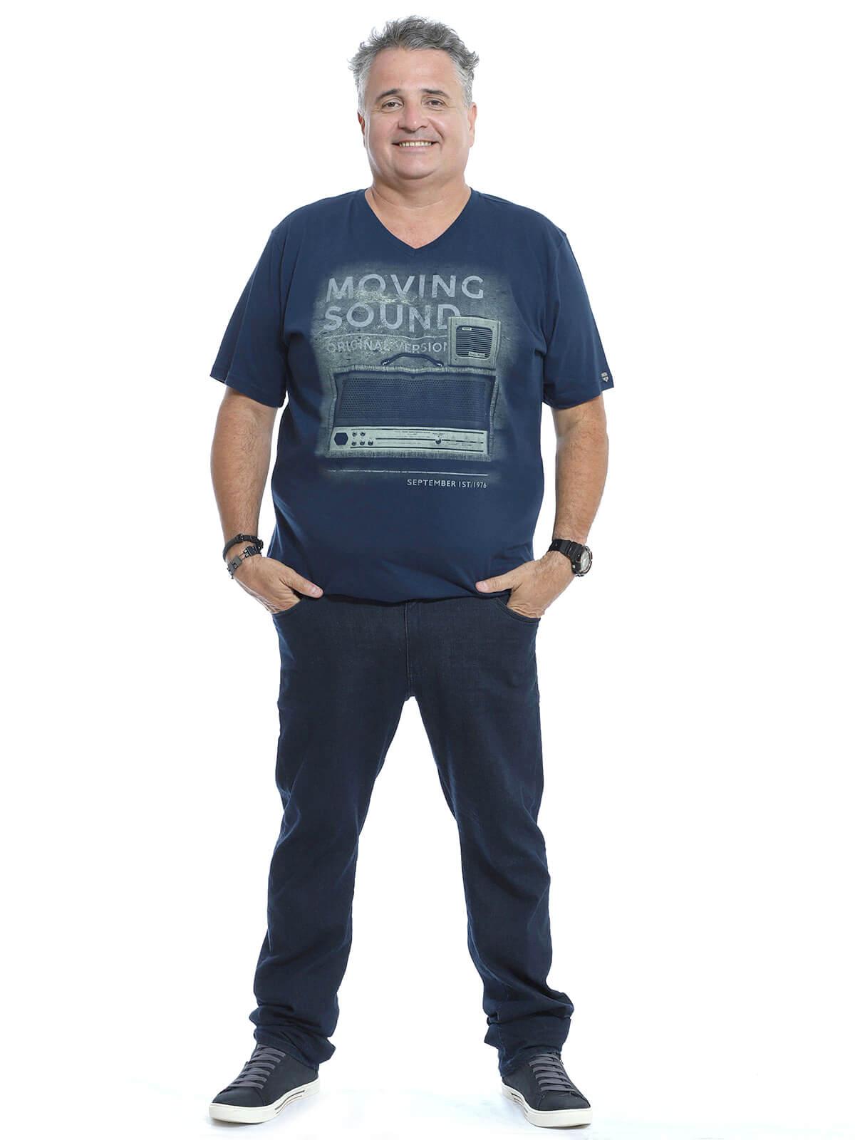 Camiseta Decote V. Plus Size Anistia Chest Marinho