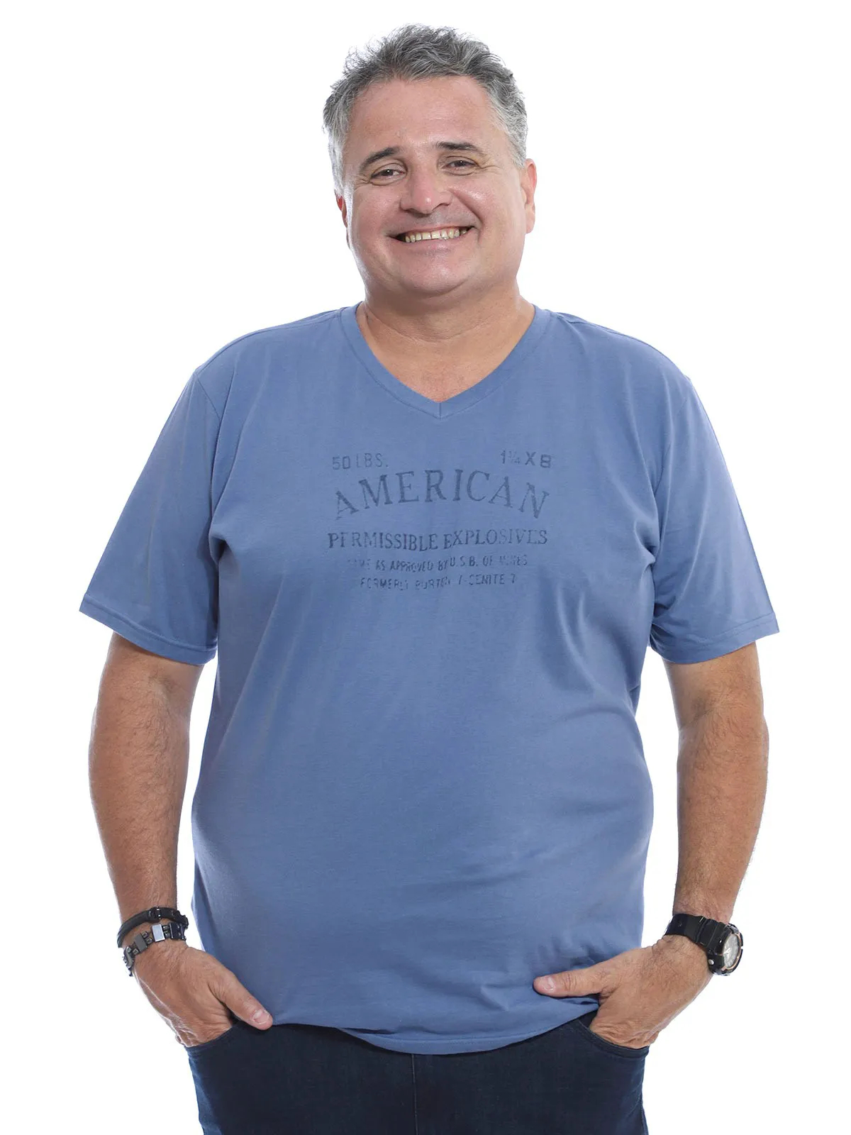 Camiseta Decote V. Plus Size Anistia Indigo
