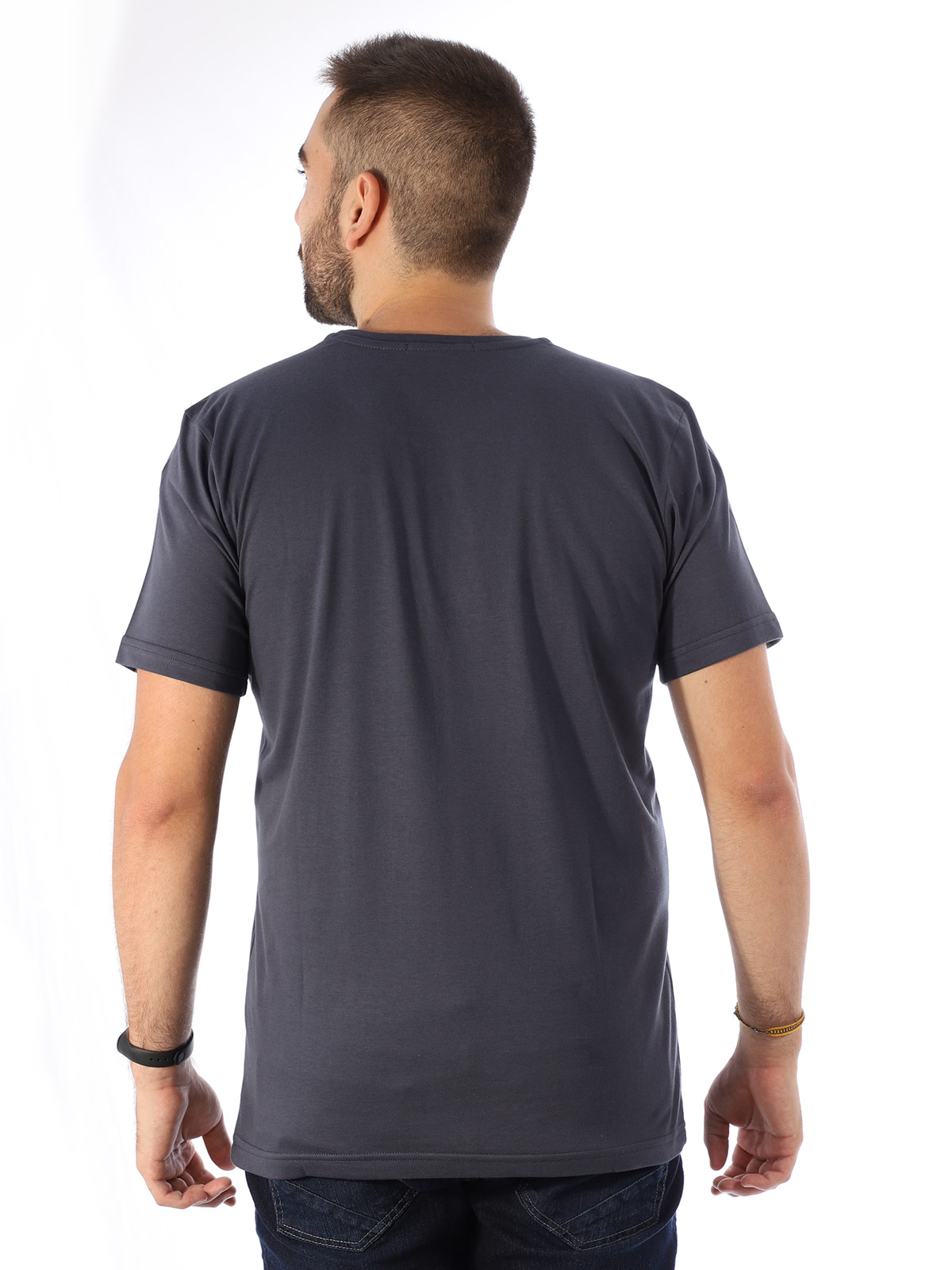 Camiseta Masculina Algodão Básica Estampa Penas Grafite
