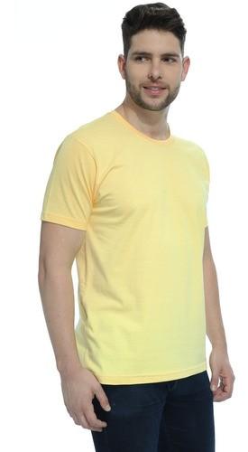 Camiseta Masculina Algodão Manga Curta Básica Lisa Amarelo