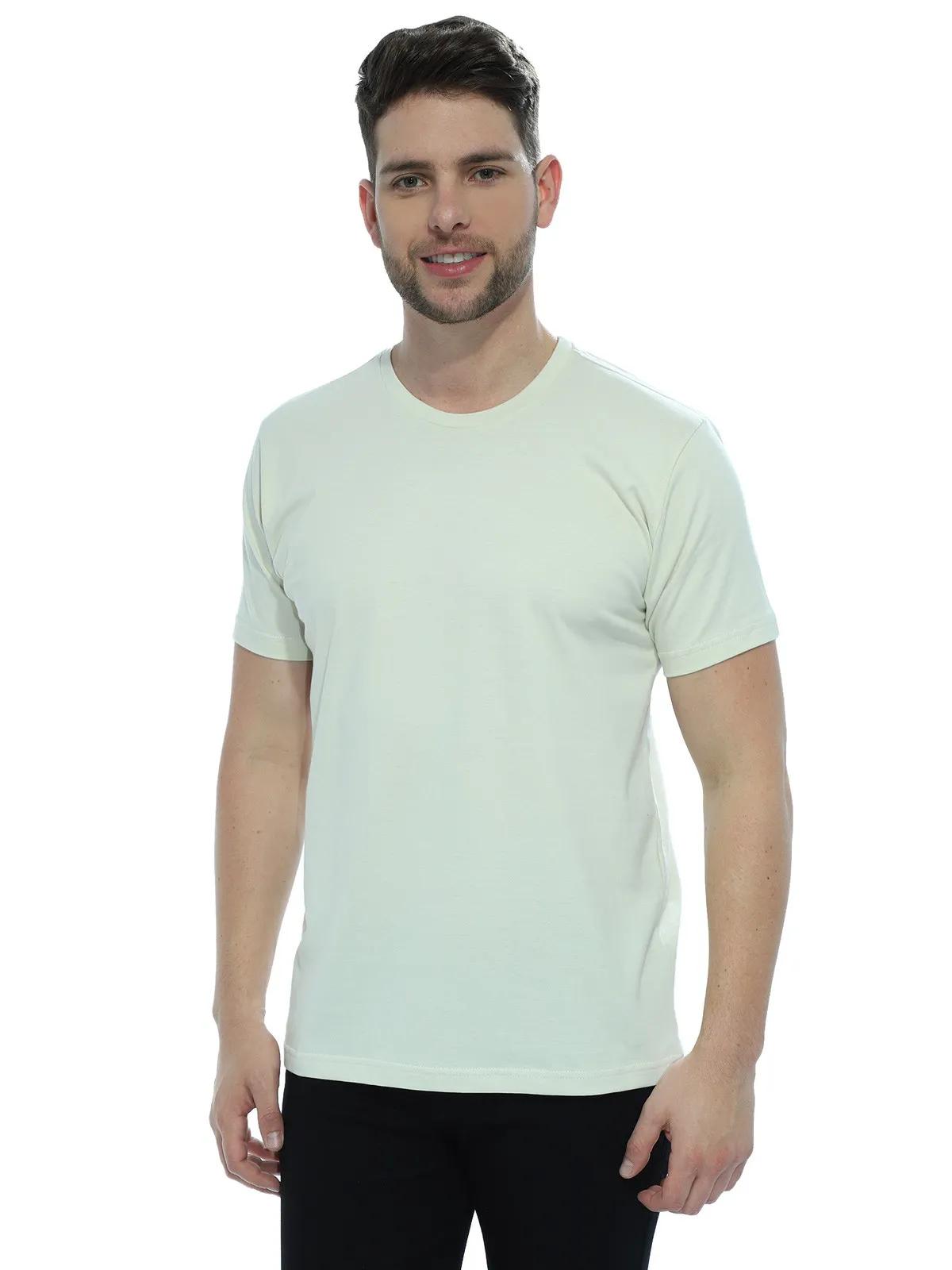Camiseta Masculina Algodão Manga Curta Básica Lisa Areia