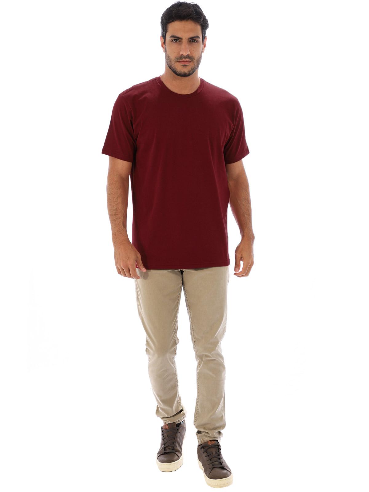 Camiseta Masculina Algodão Manga Curta Básica Lisa Bordo
