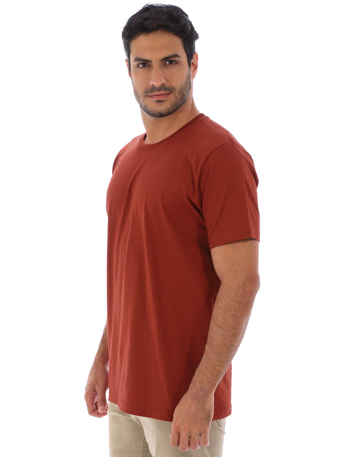 Camiseta Masculina Algodão Manga Curta Básica Lisa Ferrugem