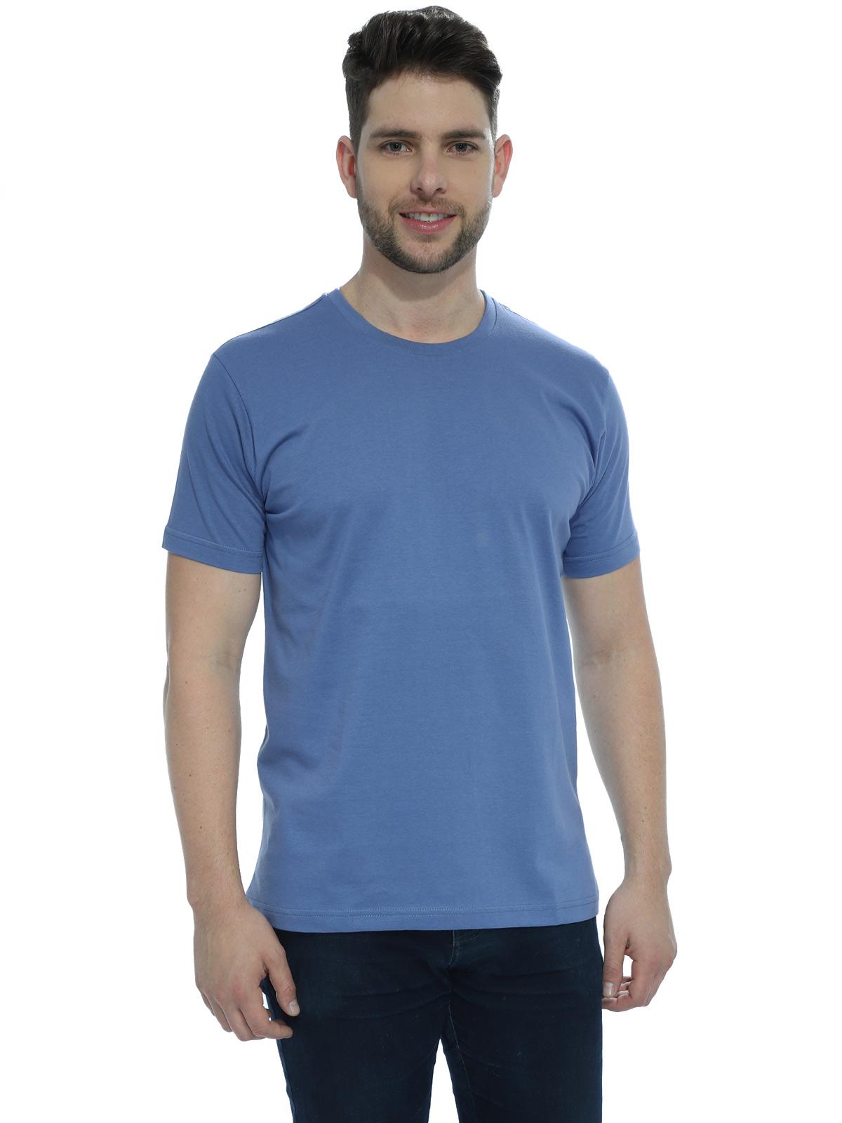 Camiseta Masculina Algodão Manga Curta Básica Lisa Indigo