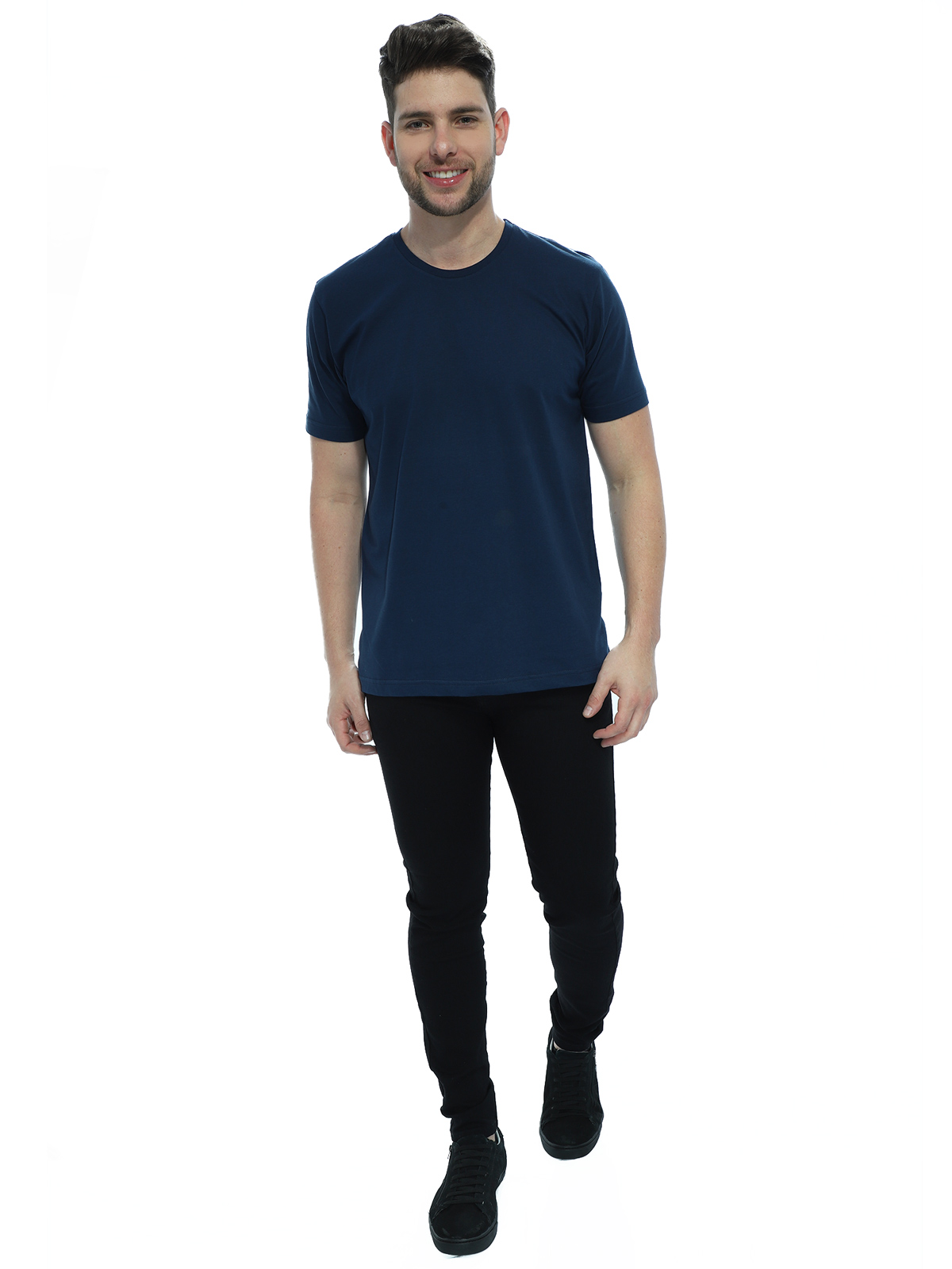 Camiseta Masculina Algodão Manga Curta Básica Lisa Marinho