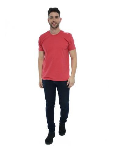 Camiseta Masculina Algodão Manga Curta Básica Lisa Vermelha