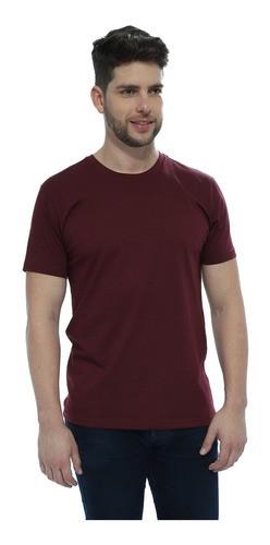 Camiseta Masculina Algodão Manga Curta Básica Lisa Vinho