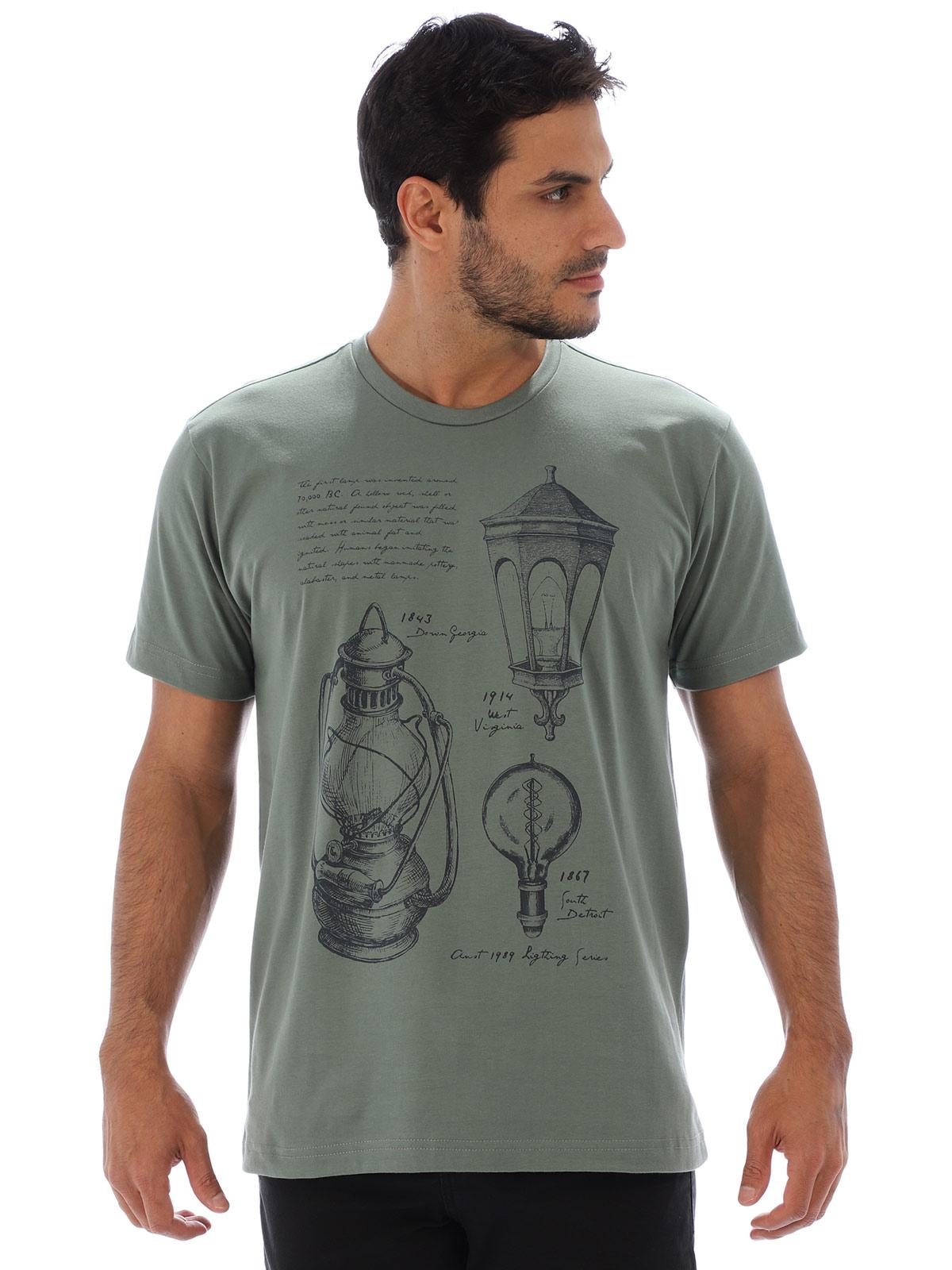 Camiseta Masculina Básica Algodão Estampa Ligths Concreto