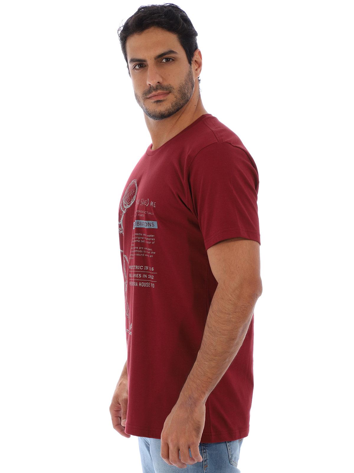 Camiseta Masculina Básica Algodão Estampa Microfone Bordo