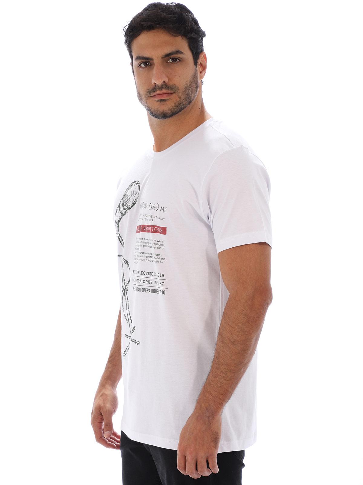 Camiseta Masculina Básica Algodão Estampa Microfone Branca