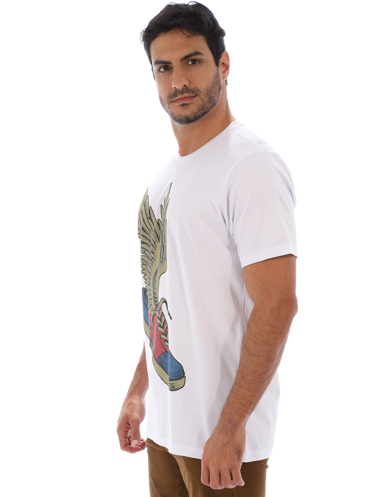 Camiseta Masculina Básica Algodão Estampa Sneakears Branco