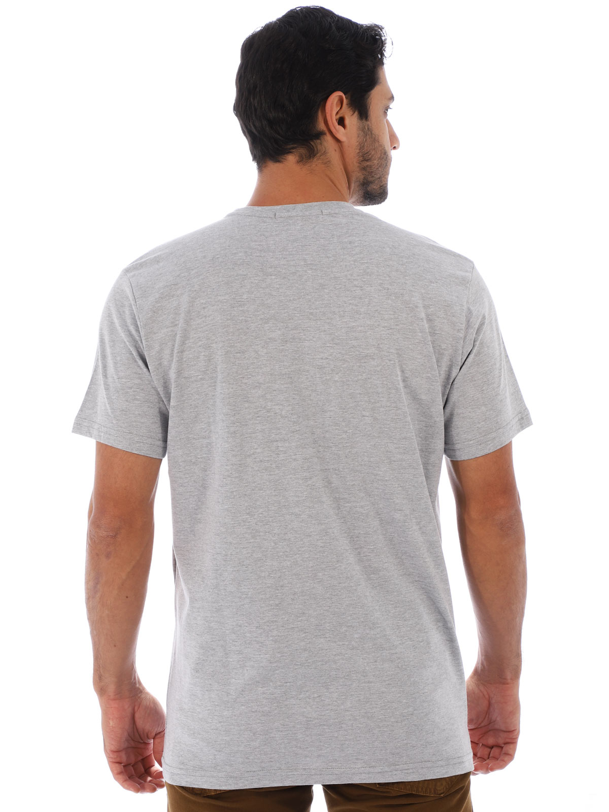 Camiseta Masculina Básica Algodão Estampa Sneakears Mescla