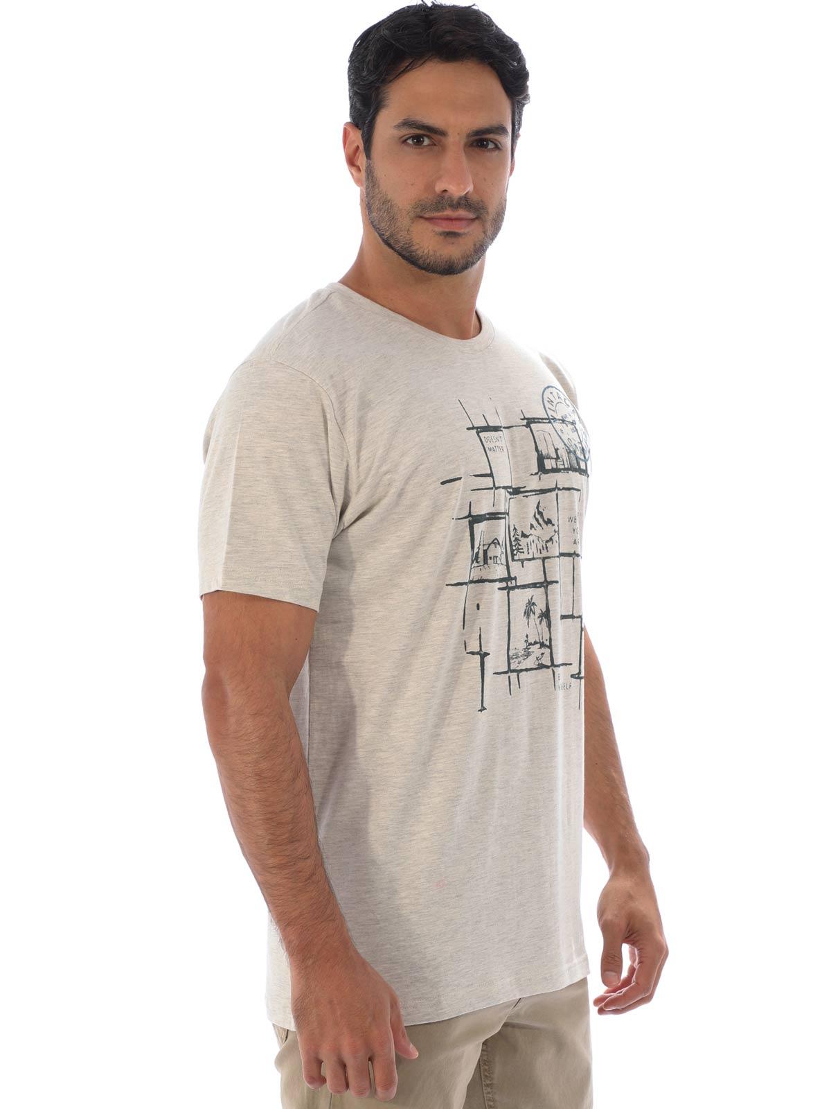 Camiseta Masculina Básica Algodão Estampa Youself Mescla Crú