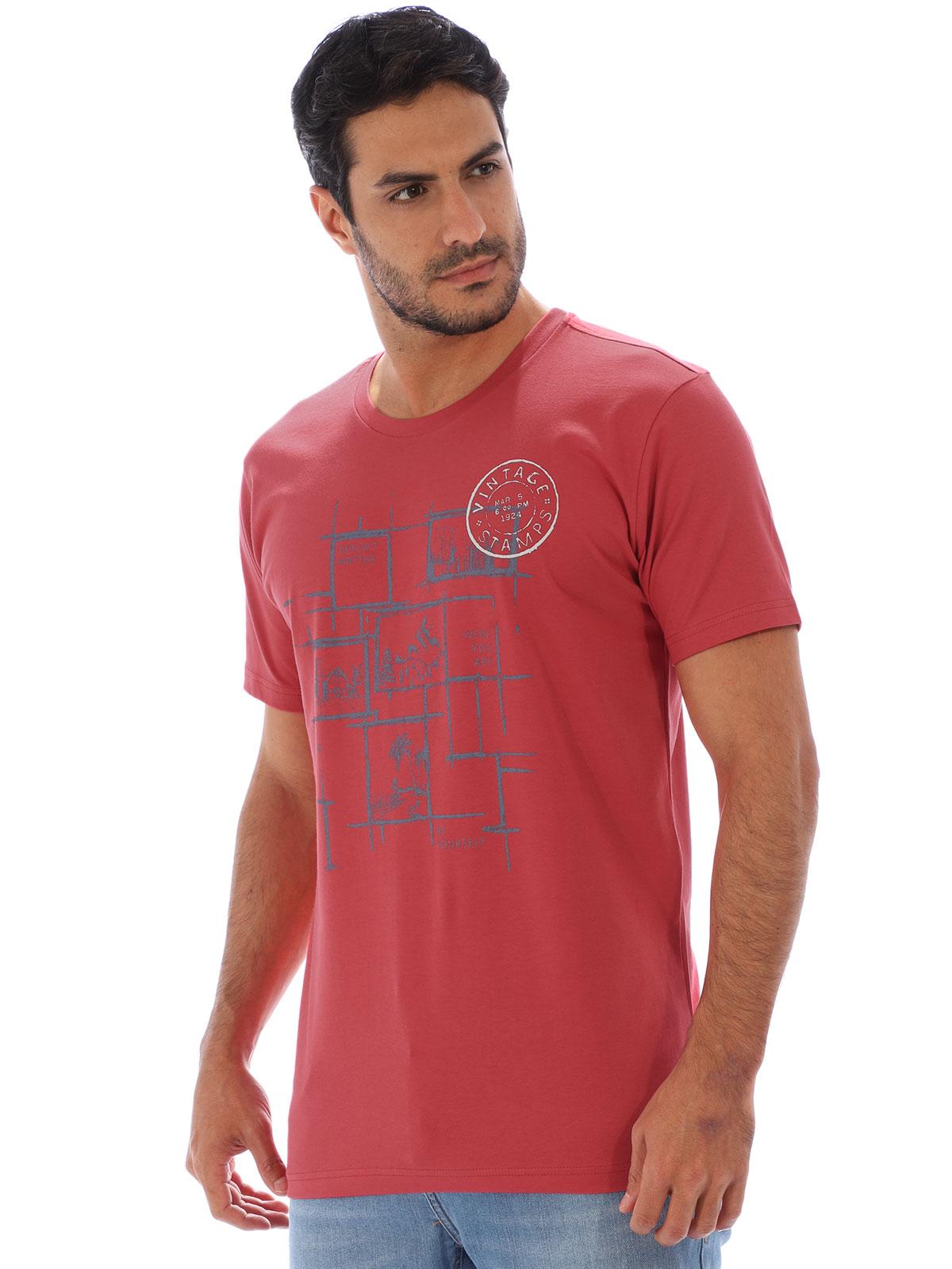 Camiseta Masculina Básica Algodão Estampa Youself Vermelho