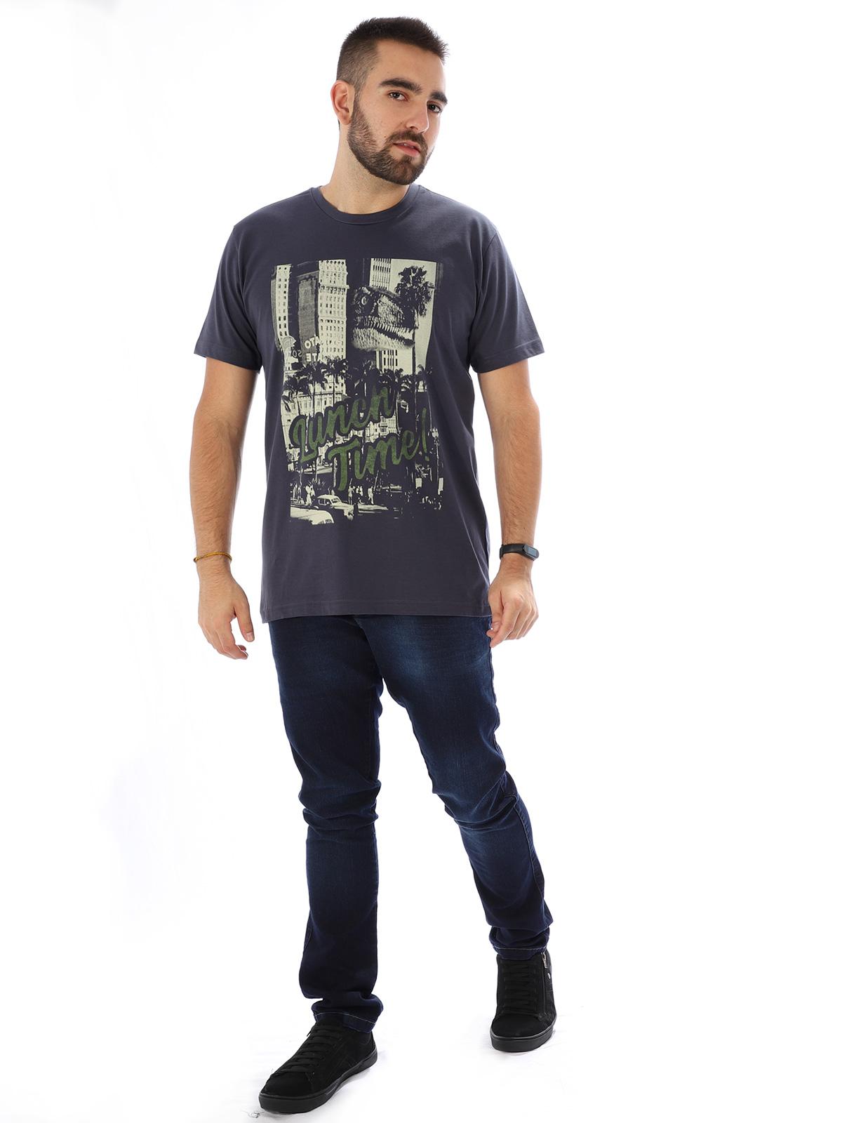 Camiseta Masculina Básica Algodão Luch Time Grafite