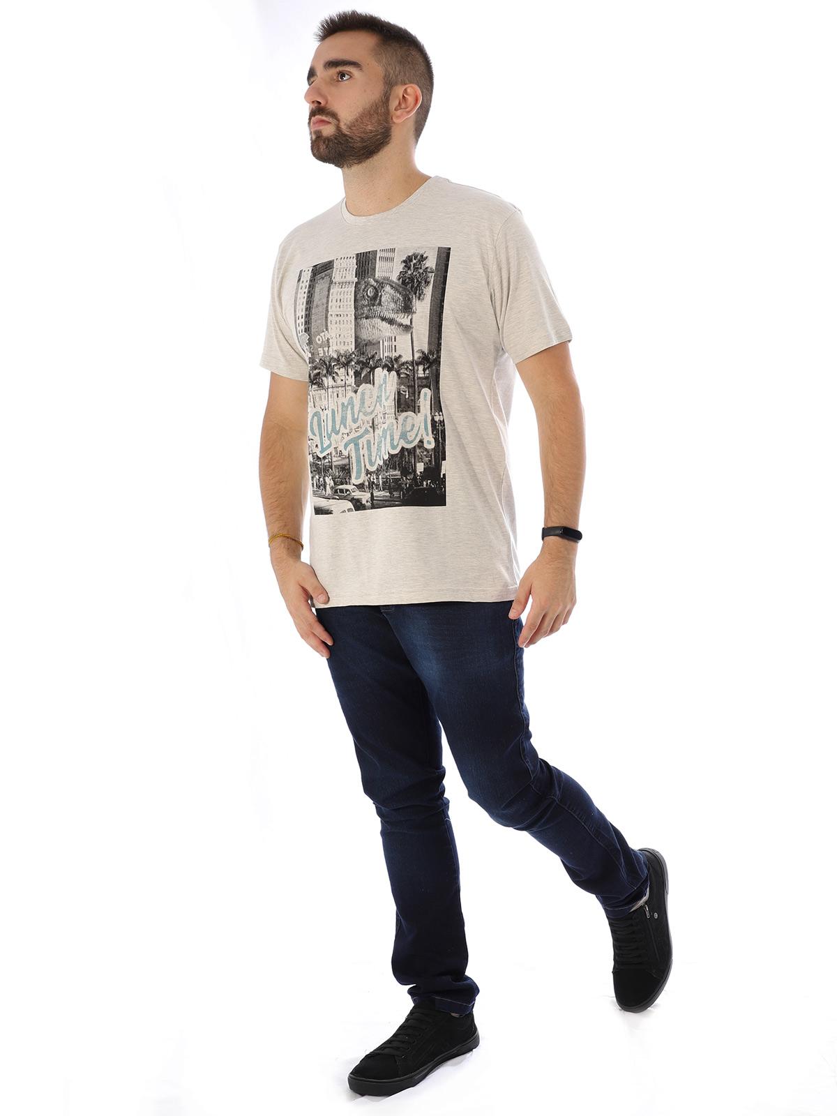 Camiseta Masculina Básica Algodão Luch Time Mescla Cru