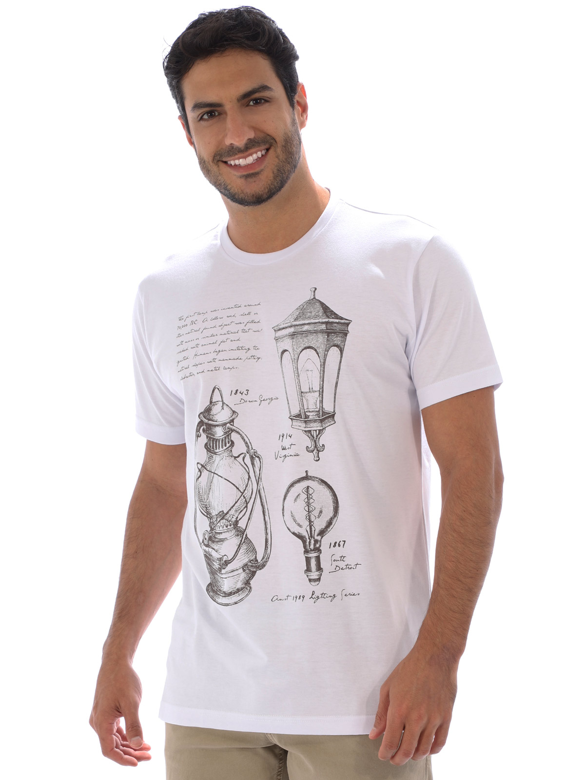 Camiseta Masculina Básica Estampa Ligths Branca