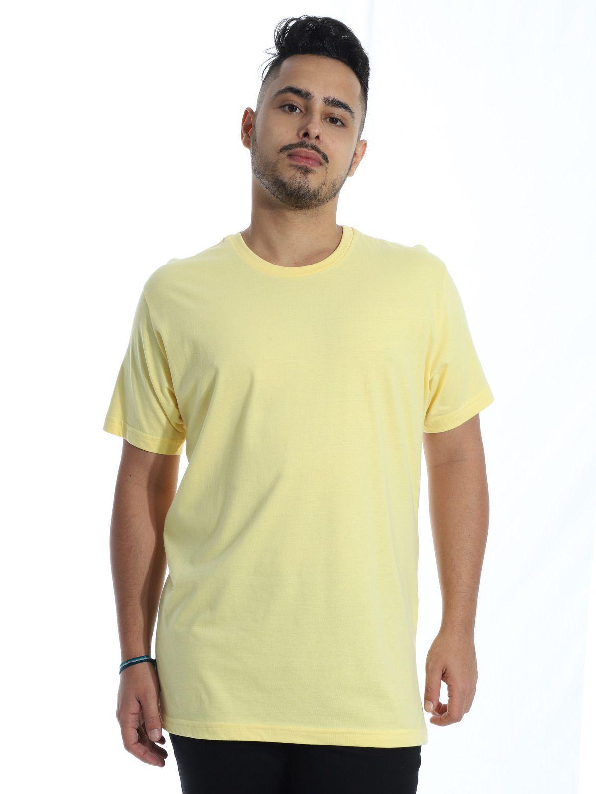 Camiseta Masculina Básica Lisa Amarelo