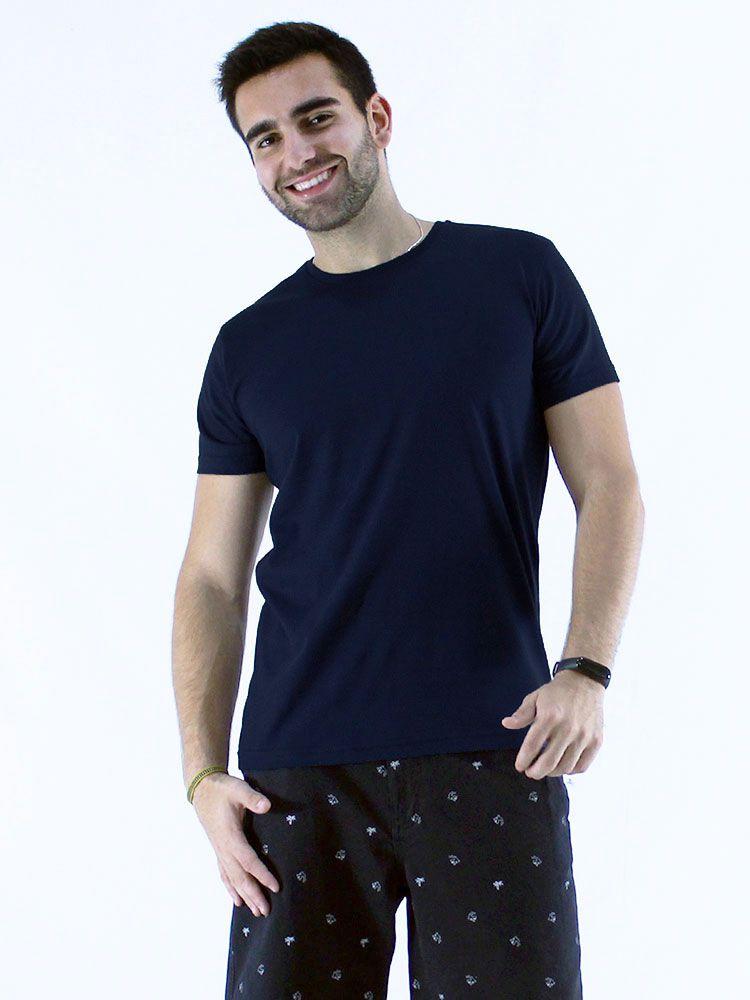 Camiseta Masculina Básica Lisa Marinho