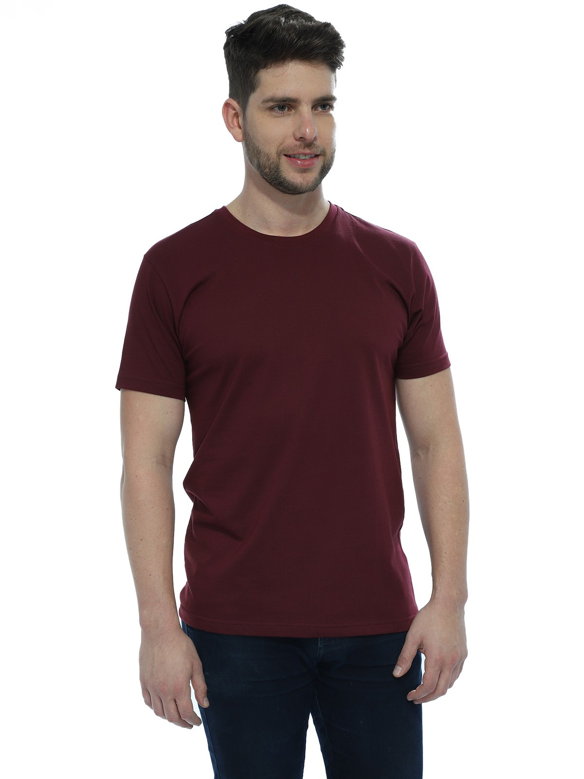 Camiseta Masculina Básica Lisa Vinho