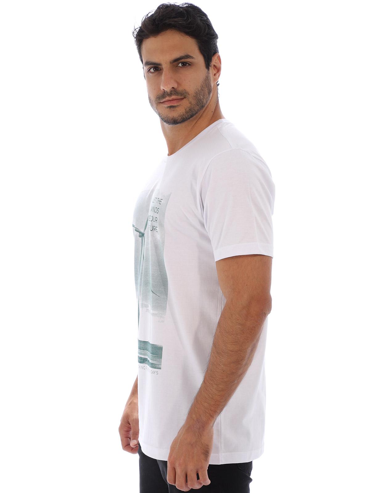 Camiseta Masculina Básica Manga Curta Estampa Aeolic Branca