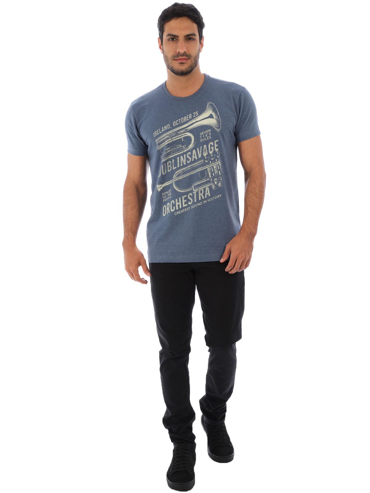 Camiseta Masculina Basica Manga Curta Mescla Full Jeans