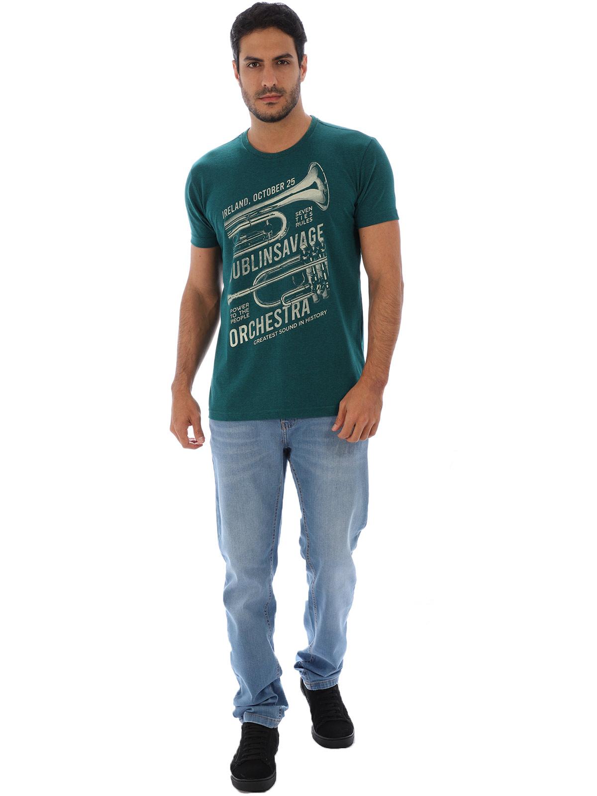 Camiseta Masculina Basica Manga Curta Mescla Full Verde
