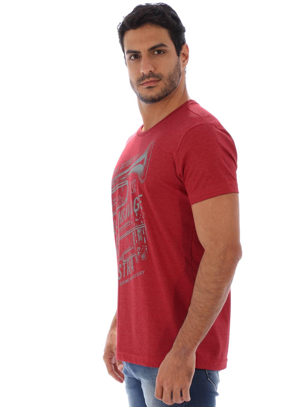 Camiseta Masculina Basica Manga Curta Mescla Full Vermelho