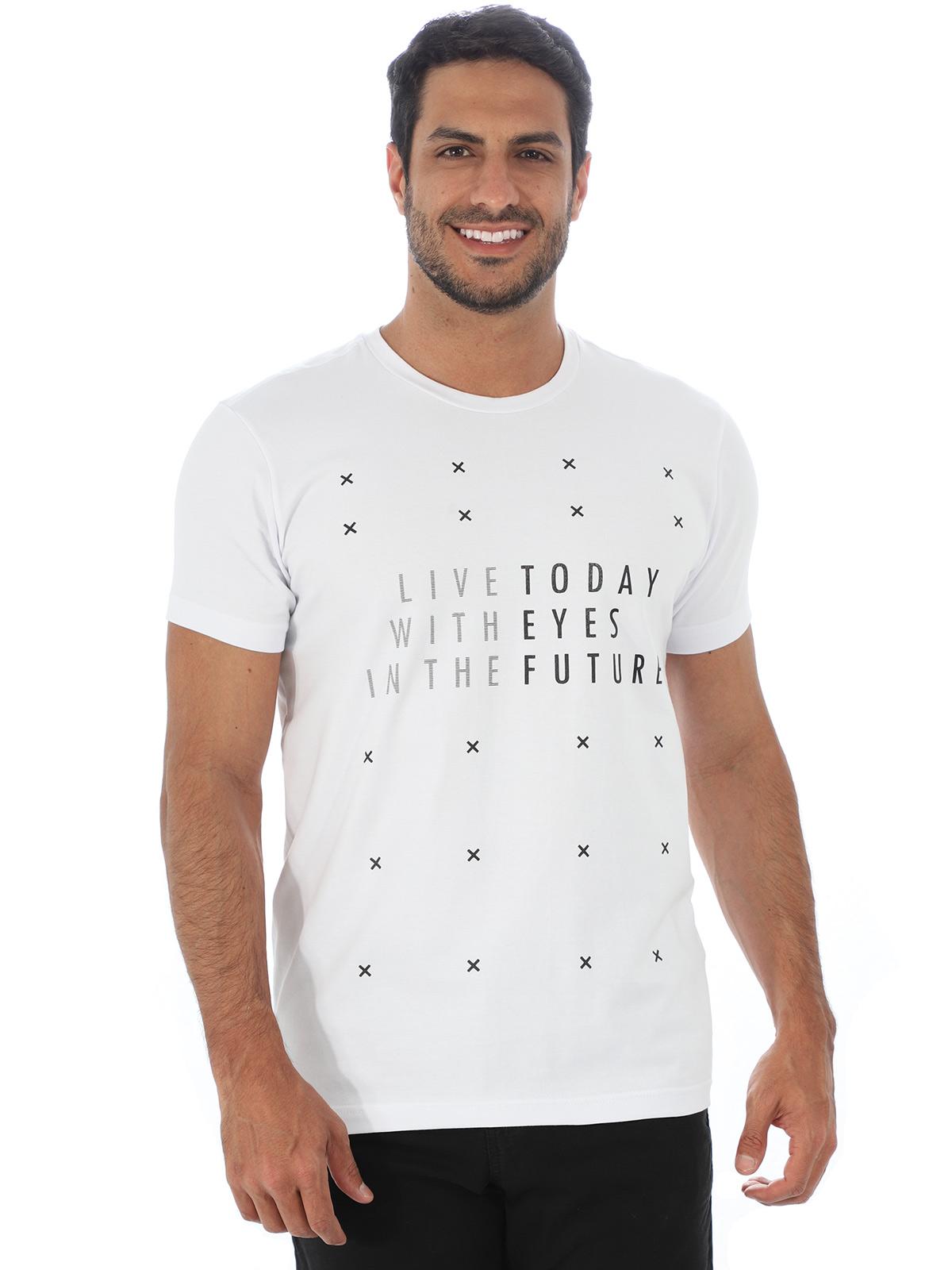 Camiseta Masculina Confort Fit Estampa Future Branca