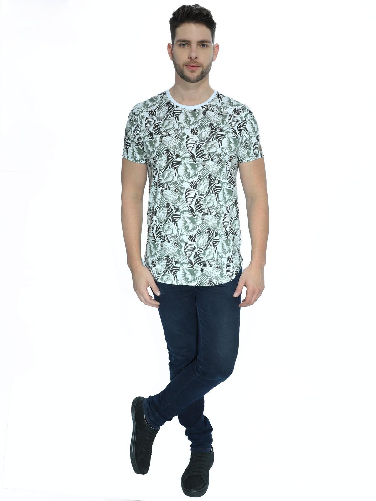 Camiseta Masculina Floral Longline Branca