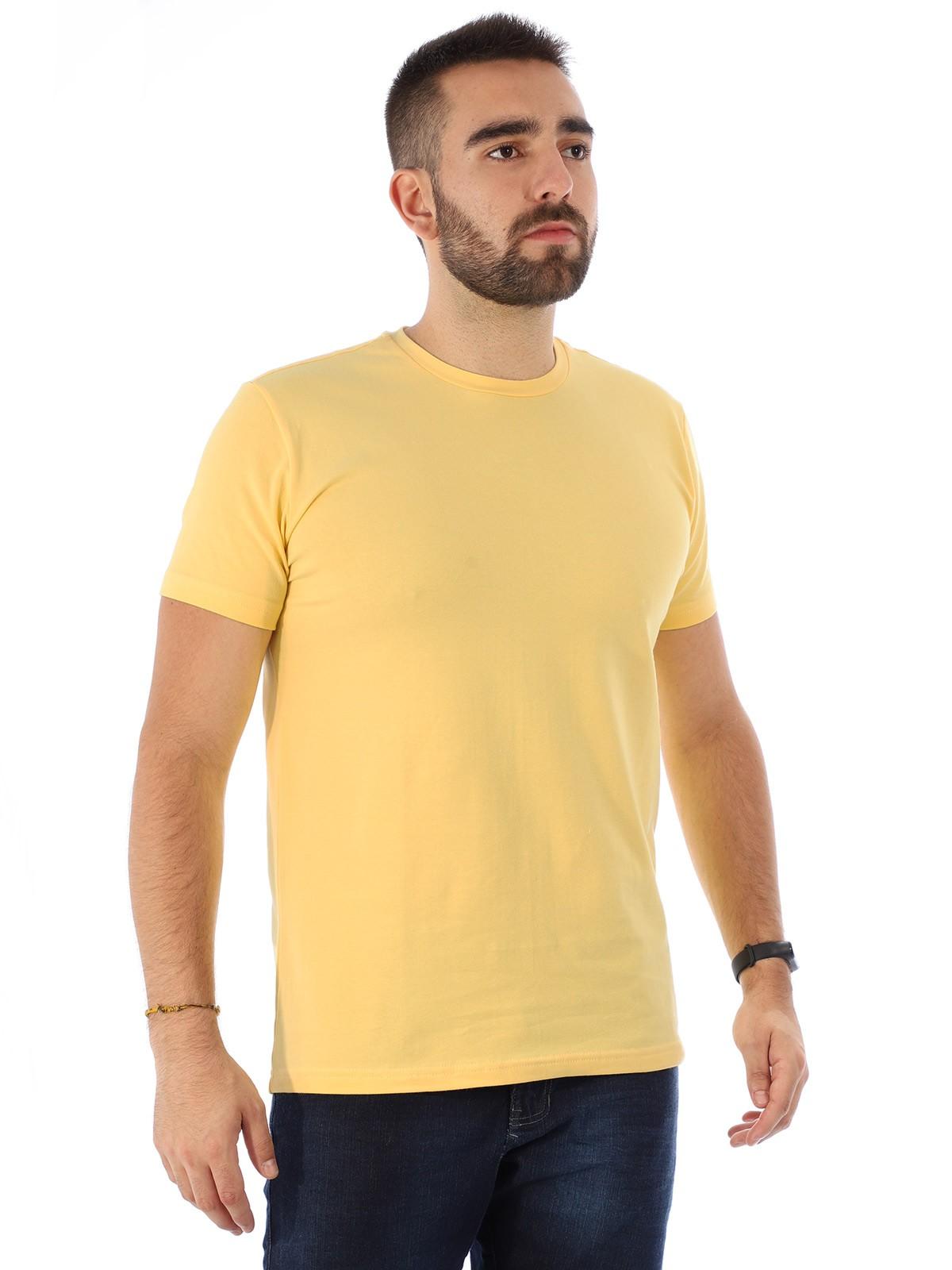 Camiseta Masculina Lisa Algodão Com Elastano Fit Amarela